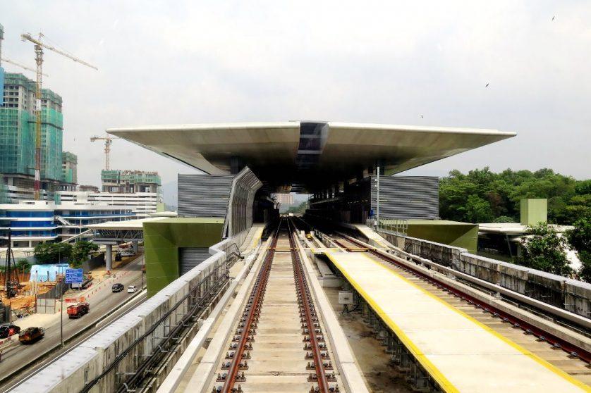 MRT train approaching Kampung Selamat station