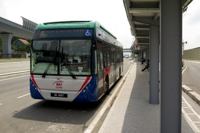 MRT feeder bus waiting near Entrance B of Kampung Selamat station
