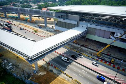The pedestrian link bridge for commuters to get to the Kampung Selamat Station. Apr 2016