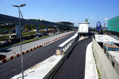 View of lay-bys for feeder buses, taxis and private cars to drop-off and pick up MRT commuters that have been built at the Kampung Selamat Station. Sep 2016