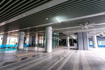 The concourse level of the Kwasa Damansara station with the big fan installed Jun 2016