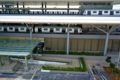 Two MRT trains undergoing test runs at the Kwasa Damansara Station. Oct 2016