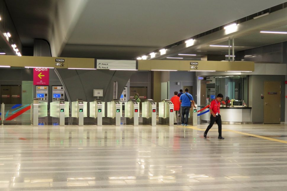 Access gates on concourse level at Kwasa Sentral station