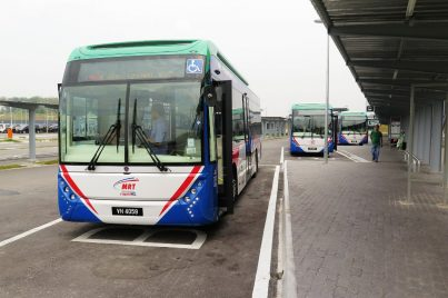 MRT feeder buses waiting at bus stop