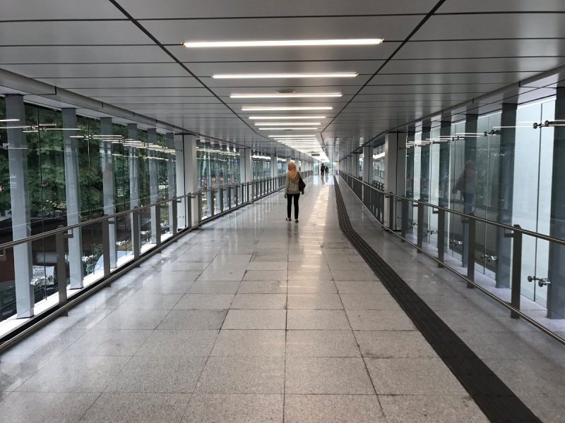 Maluri MRT station is also integrated with Ampang Line LRT. A covered walkway connects the two systems. The walk takes about 2 mins