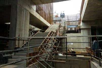 Construction of the staircase from the platform level to the concourse level in progress. Sep 2015