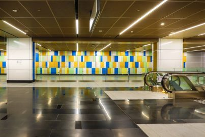 Lighter, more playful decorative walls on concourse level of Maluri MRT station