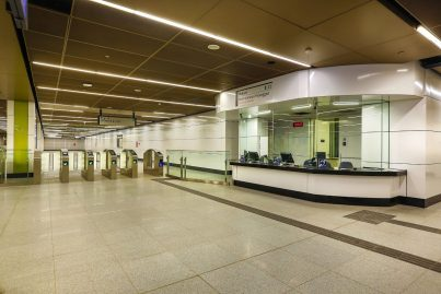 Access gates and customer service office located on concourse level of Maluri MRT station