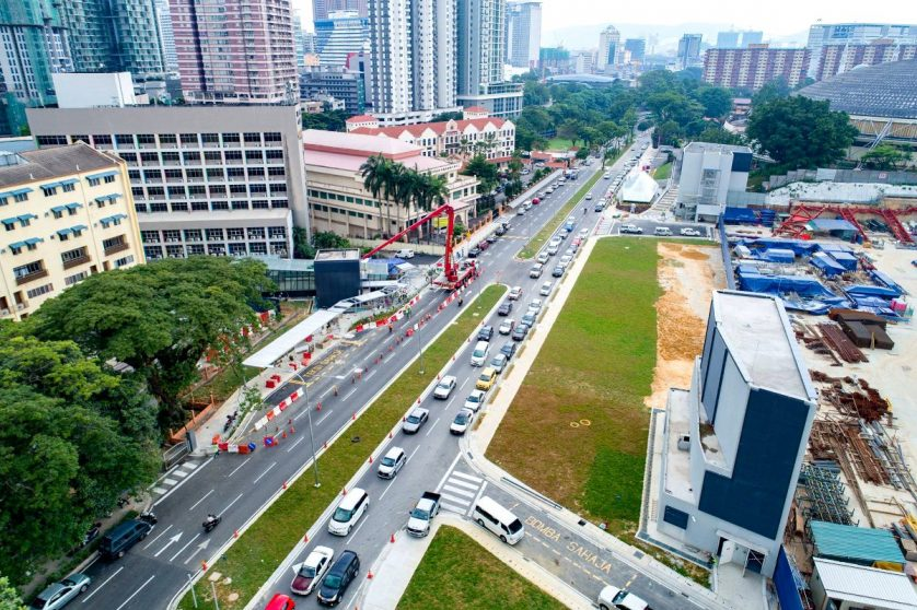 Aerial view of the Merdeka MRT Station and entrances to the station