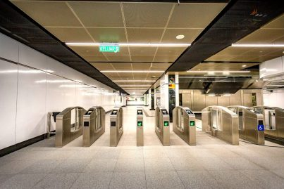 Fare gates on lower concourse level