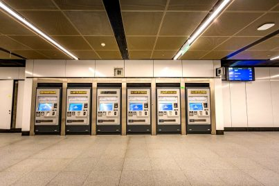 Ticket vending machines on lower concourse level