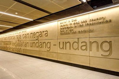 text of Rukun Negara, the Malaysian national pledge, on upper concourse level