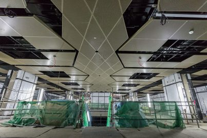 Interior roofing works that is currently ongoing inside the Merdeka Station.