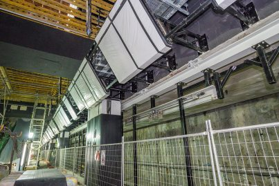 Platform screen doors being installed inside the Merdeka Station.