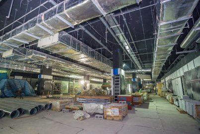Building services equipment such as air conditioning ducting already installed inside the Merdeka Station.