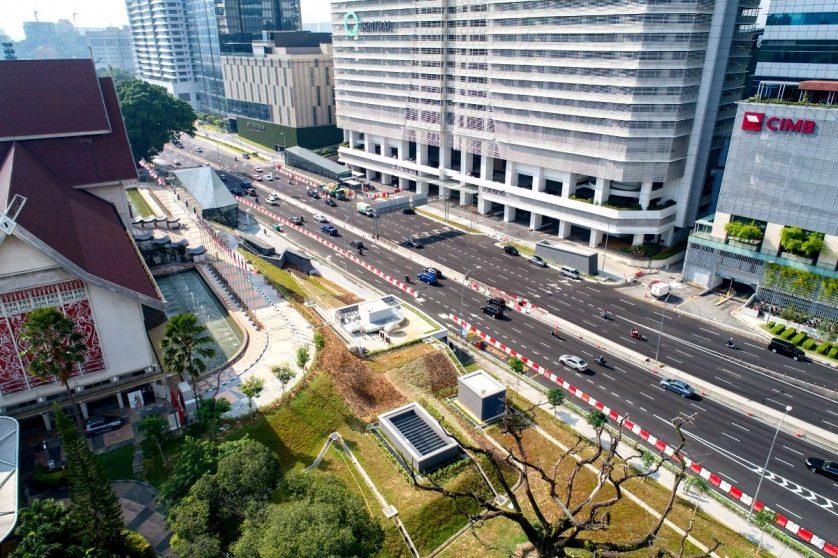 Aerial view of Muzium Negara MRT station in front of the Muzium Negara building