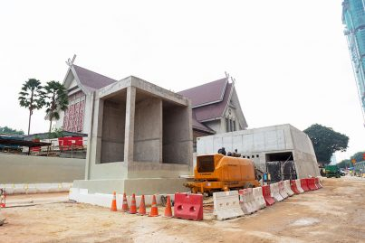 Entrance and ventilation buildings of the Muzium Negara Station taking shape.