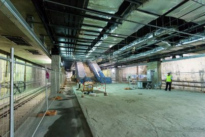 View of the construction works at the platform level inside the Muzium Negara Station.