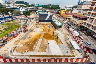 Aerial view of ongoing landscaping works at the Pasar Seni Station site.