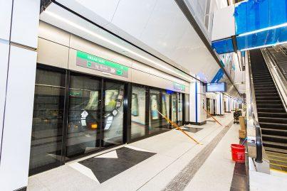 An MRT train undergoing testing inside the Pasar Seni MRT Station.