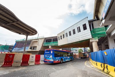 The pedestrian linkway between the LRT and MRT Stations being built at Pasar Seni.