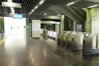 Entrance / exit gates and customer service office