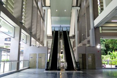 Tall escalators after entrance A