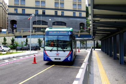 RapidKL bus lining up near the entrance A of Phileo Damansara Station