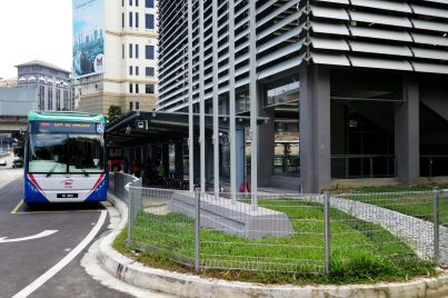RapidKL bus waiting at the entrance A of Phileo Damansara Station