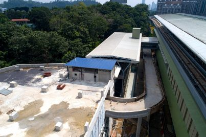 Construction of exit ramp from the Phileo Damansara Station multi-storey park and ride parking facility. Dec 2016