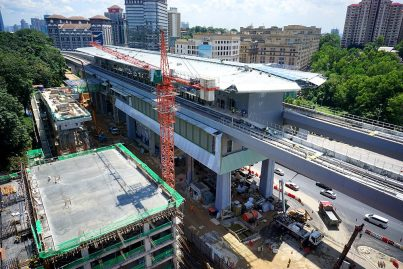 Construction at the Phileo Damansara Station in progress. Jan 2016