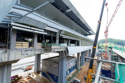 Architectural works for the Phileo Damansara Station being done. Jan 2016