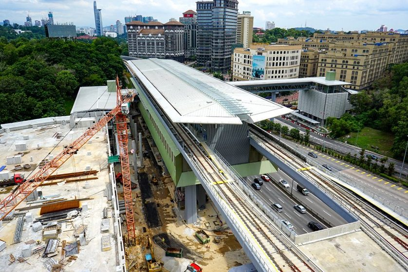 View of the Phileo Damansara Station undergoing construction works. Oct 2016