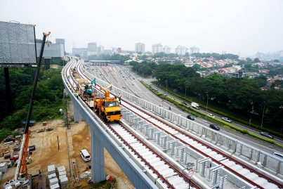 Track works on the completed guideway along SPRINT Highway. Sep 2015