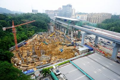 View of the site for the Phileo Damansara Station multi-storey park and ride building. Sep 2015