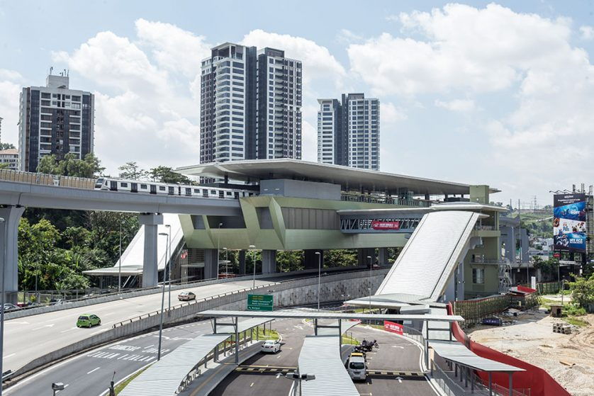 View of the completed Pusat Bandar Damansara Station with a MRT train undergoing testing.