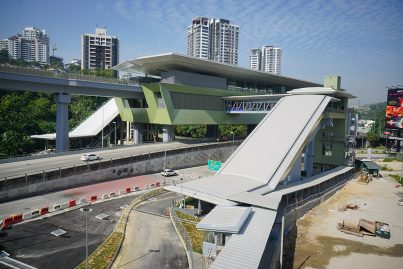 The feeder bus layby of the Pusat Bandar Damansara Station undergoing final works.