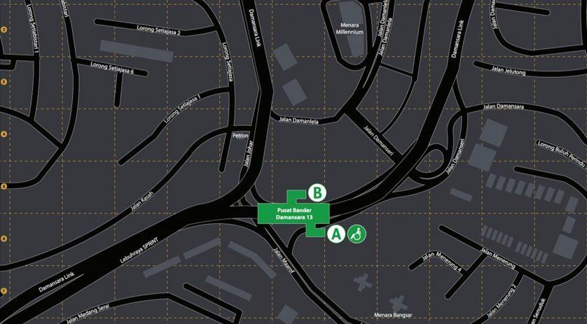Location of Pusat Bandar Damansara MRT Station