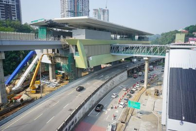 View of the Pusat Bandar Damansara Station which is almost completed.