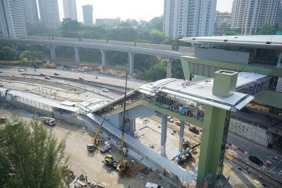 View of the escalator that is being built for access to the Pusat Bandar Damansara Station from Jalan Johar.