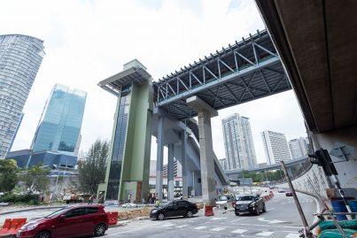 The view of the pedestrian bridge to gain access from Jalan Johar to the Pusat Bandar Damansara Station.