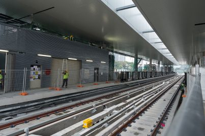 The completed train tracks at the Pusat Bandar Damansara Station.