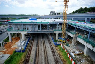 Construction at the concourse level of the Sungai Buloh Station in progress. Feb 2016