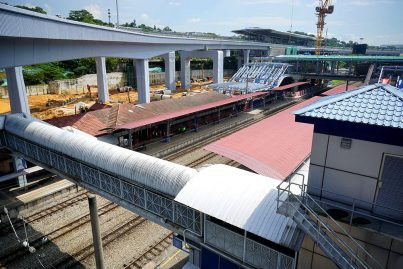 The view from the Sungai Buloh KTM Station of the common concourse level being constructed. Jan 2016