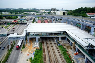 View of the completed common concourse linking both the Sungai Buloh MRT Station with the KTM Komuter Station. Jun 2016