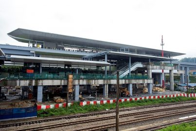 The MRT Sungai Buloh Station which is located next to the KTM train tracks. May 2016
