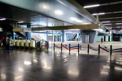 Fare gates and customer service office