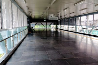 Pedestrian walkway to entrance A and entrance C