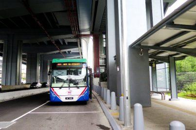 Feeder bus waiting near entrance B
