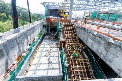 Construction of the staircase is in progress at the Tama Connaught Station from platform level to concourse level. Oct 2015